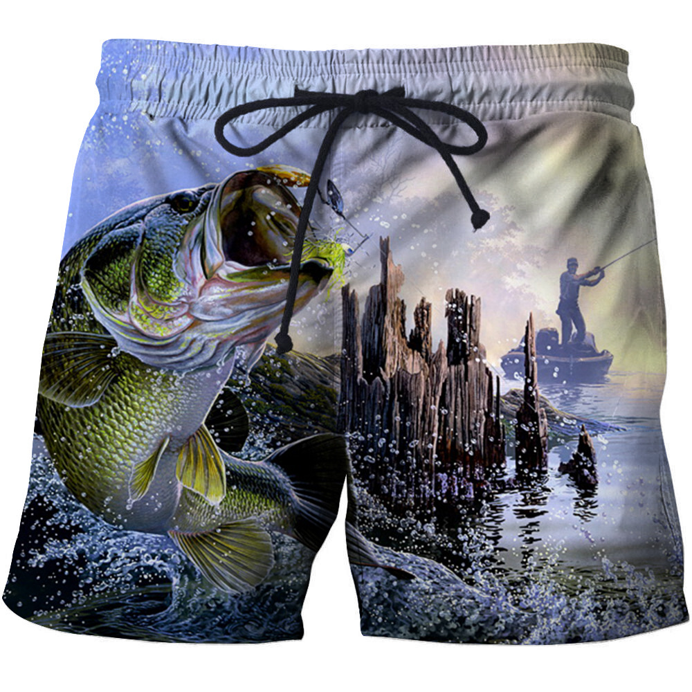 SHUJIN 3D Fish Printed Summer 2020 Surfing Swiming Cotton Shorts Men Pants Drawstring Casual Beach Wear Men Thin Short Pants