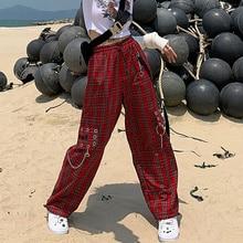 Aesthetic-Pants Chain Checked-Trousers Indie QWEEK Streetwear Harajuku Japanese Women