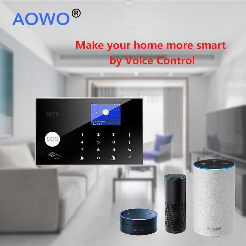 Kablosuz 4G WiFi Alarm sistemi ile Tuya Amazon Alexa Google ev IFTTT ses kontrolü yangın duman PIR hareket algılama LCD RFID Alarm