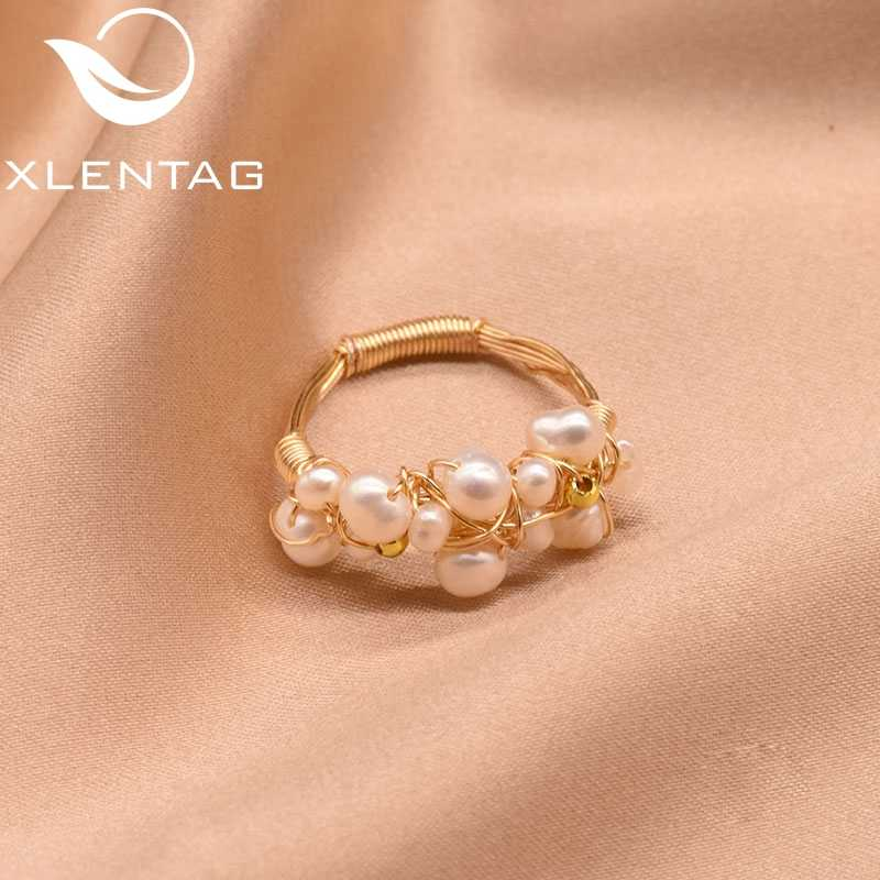 XlentAg Original Fresh Water Baroque White Pearl Rings For Women Handmade Vintage Wedding Personality Ring Fine Jewellery GR0193