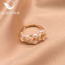 XlentAg Original Fresh Water Baroque White Pearl Rings For Women Handmade Vintage Wedding Personality Ring Fine Jewellery GR0193