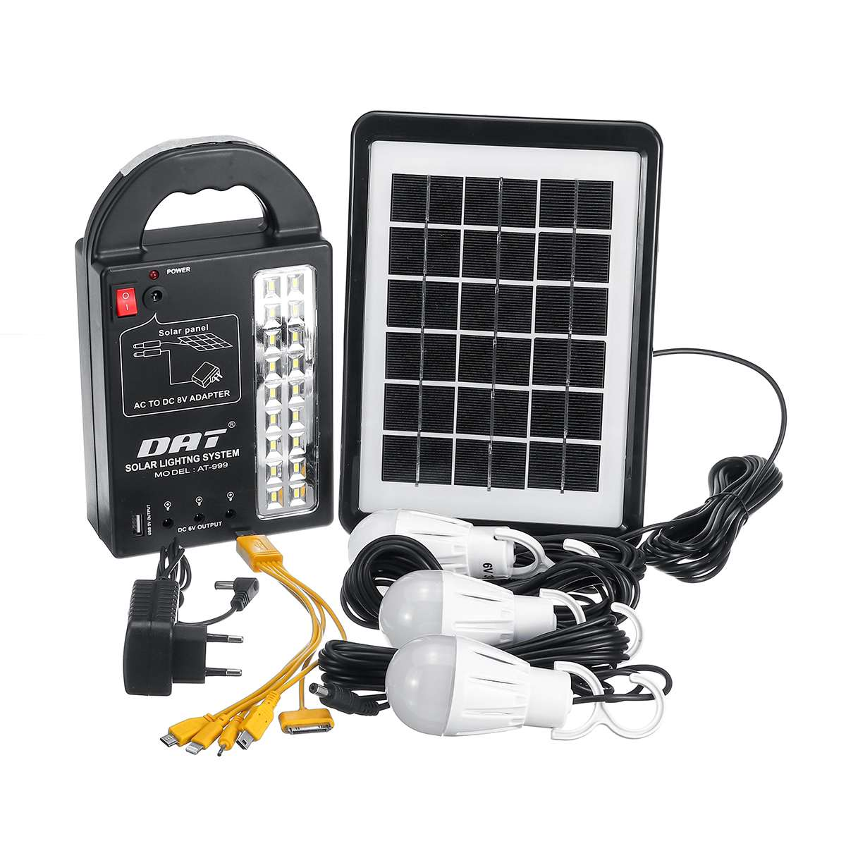 Solar Power Generator with 3 LED Bulbs and USB charging Interface Ideal for Indoor/ Outdoor Lighting