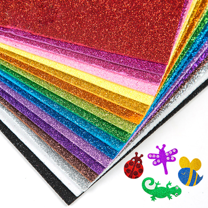 A4 10pcs DIY Foamiran Glitters Foam Paper Kraft Sponge Paper Gold Powder Glitter Handmade Paper Crafts Wedding Party Supplies