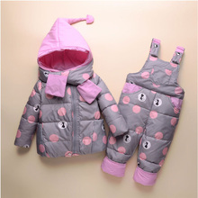 2019 Kids Warm Down Jackets Winter Children  Clothing Sets 2Pcs Coat + Overall 1-4 Years Toddler Girls Clothes Boys Snowsuit