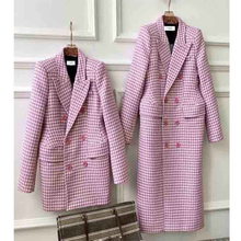 Plaid Coat Woolen Double-Breasted Women Pink Autumn Winter Waist Cosmicchic Shoulder-Pads