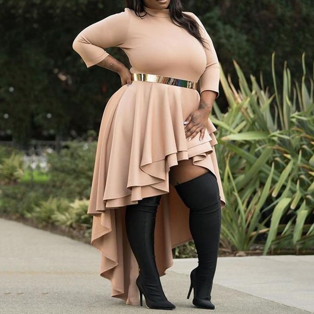 Plus Size Dresses for Women 4xl 5xl 6xl Ladies Autumn Fall Turtleneck Asymmetric Falbala High Low Long Party Dresses Ruffles 5XL