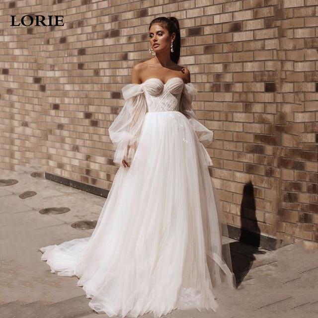 Lorie princesa vestidos de casamento querida puff manga móvel praia vestido de noiva fora do ombro rendas até voltar boho vestidos de casamento 1