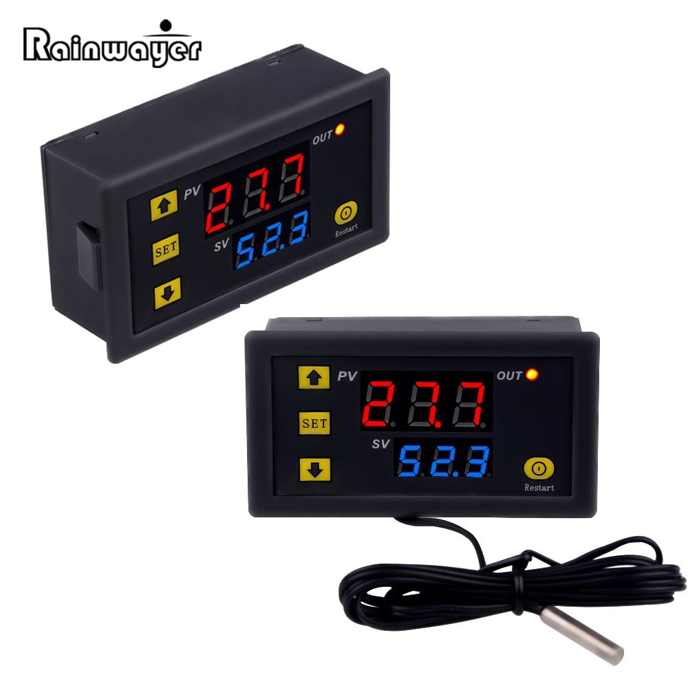 W3230 Мини цифровой терморегулятор 12 В 24 В 220 В Термостат Регулятор нагревательный контроль охлаждения Терморегулятор с датчиком