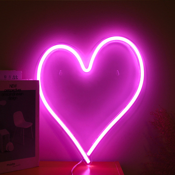 LED Neon Light Sign Heart Shape Neon Sign Wall Hanging Art for Bar Bedroom Living Room Party Home Decor Night Light USB Powered недорого