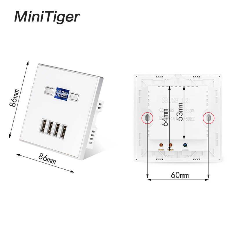 Minitiger הטוב ביותר 4-יציאת USB יציאת 4A קיר מטען מתאם האיחוד האירופי Plug שקע חשמל שקע חשמלי קיר מטען מתאם טעינה