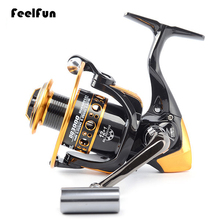 FeelFun 12+1BB Black Fishing Reels Spinning Bass Tackles 2000-5000 Series Wheels