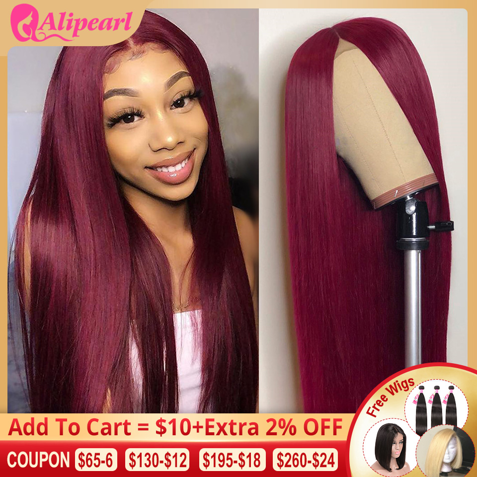 AliPearl Hair Straight Lace Front Human Hair Wigs For Black Women 99J Brazilian Remy Hair Wigs Pre Plucked 150% 180% Density