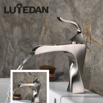 Lutedan Basin Sink Faucets Brass Hot and Cold Water Basin Mixer Taps Bathroom Waterfall Faucet Cold and Hot Sink faucet цена 2017
