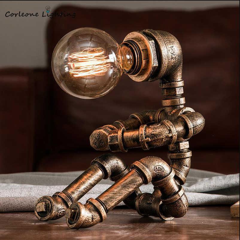 Lampada Da Tavolo A Tubo D Acqua Retro Lampada Da Scrivania Vintage In Ferro Industriale Robot Bar Cafe Lampada Da Comodino Camera Da Letto Edison Art Deco Lampade Led Table Lamps Aliexpress