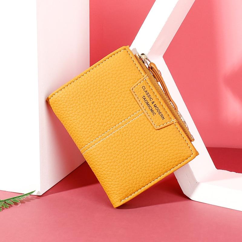Brand Yellow Women Wallet Soft PU Leather Female Purse Mini Hasp Card Holder Coin Short Wallets Slim Small Purse Zipper Keychain