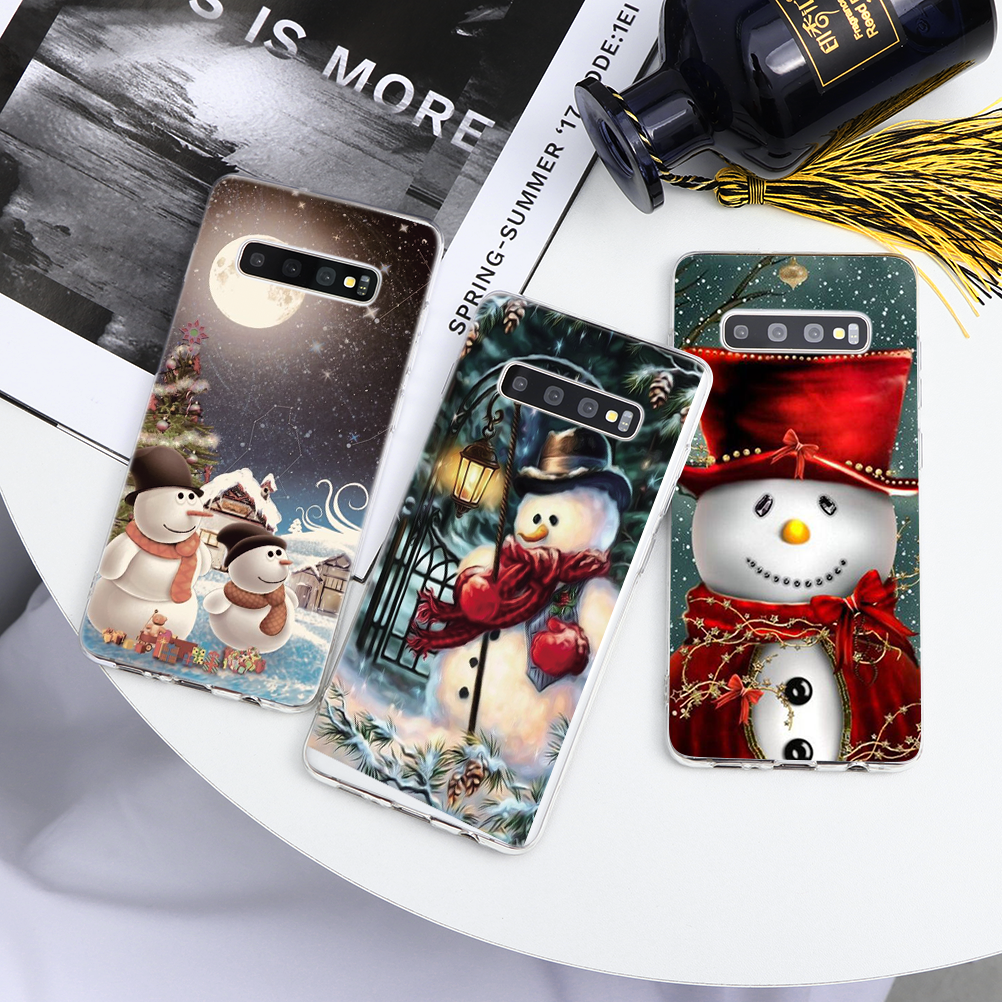 Christmas Snowman Case For <font><b>Samsung</b></font> Galaxy A8 A6 Plus A7 <font><b>A9</b></font> 2018 A3 A5 2017 <font><b>2016</b></font> 2015 A10 A20 A30 A60 A70 A80 A40 A50 Coque image