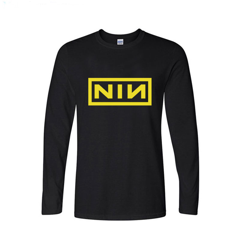 Fashion Costume Cotton Casual Long Sleeve T Shirt Men Print Nine Inch Nails Rock Band T-shirts Size XS-XXL image
