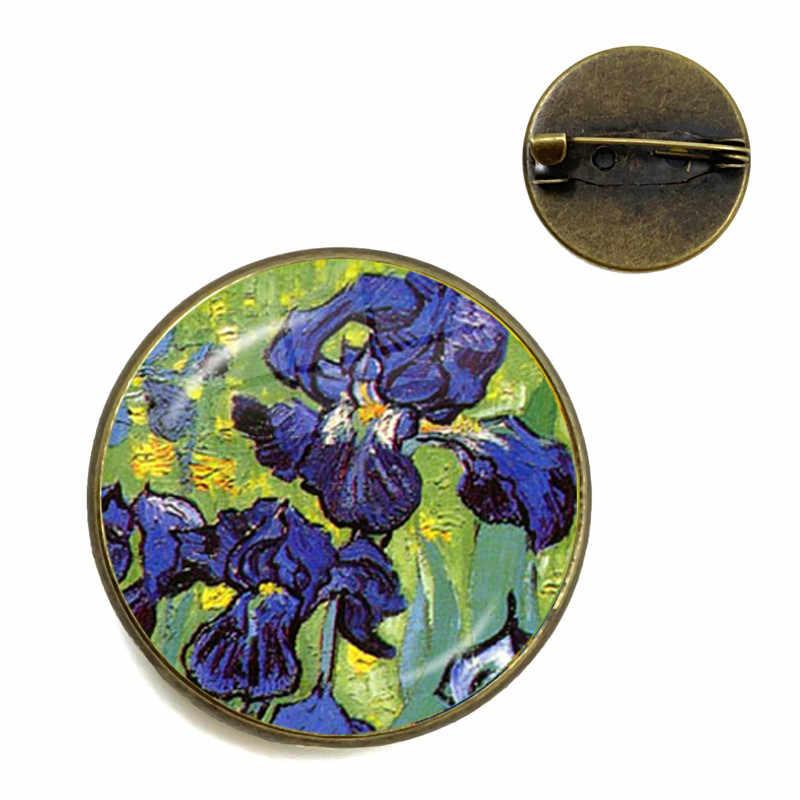 ואן גוך חמניות אמנות בציר ברונזה סיכת 20mm זכוכית קרושון כיפת צווארון סיכות תכשיטי תג עבור נשים גברים ילדים מתנה