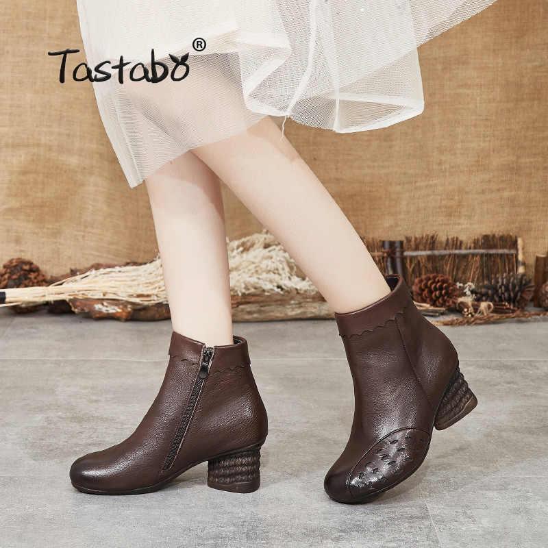 Tastabo hakiki deri yüksek topuk kadın çizmeler Vintage stil kadın ayakkabısı günlük botları S99812 kahverengi siyah rahat moda