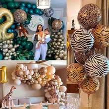 Zwierząt w paski balon foliowy Woodland impreza w stylu Safari dżungla Zoo las akcesoria na imprezę tematyczną dekoracje na przyjęcie urodzinowe dla dzieci Baby Shower