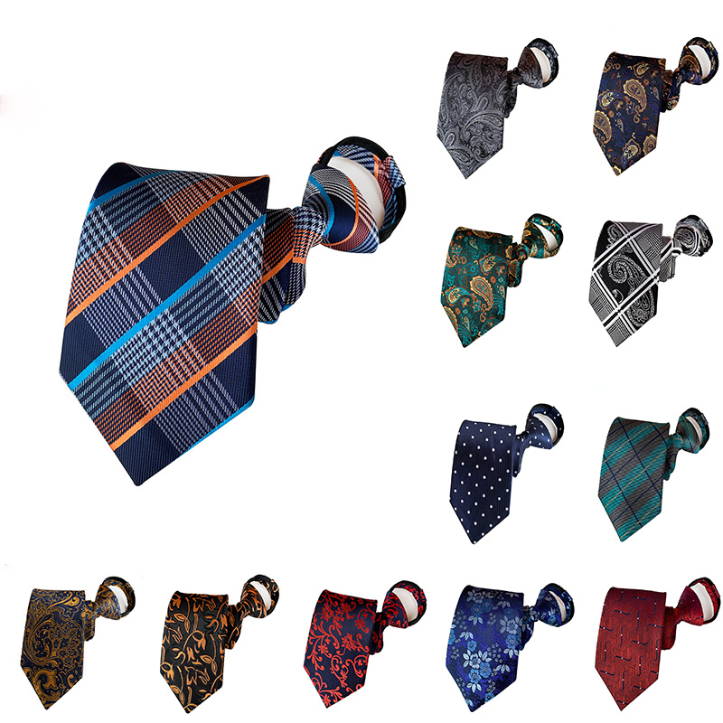 2019 New Men Tie Paisley Grid Neck Tie  Business British Style Lazy Zipper Tie Wedding Shirt Accessories Party Gifts For Men