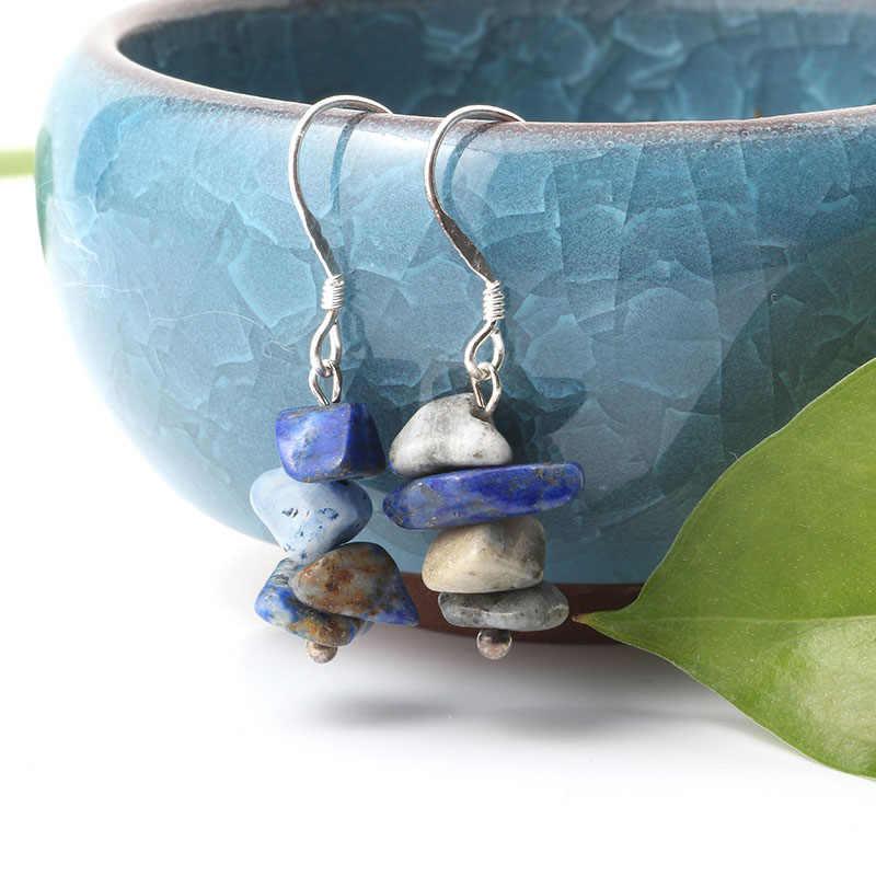 Natuursteen Oorbellen 7 Chakra Lange Omzoomd Verklaring Drop Oorbellen Voor Vrouwen Ronde Kralen Reiki Healing Sieraden Gift Voor Vrouwen