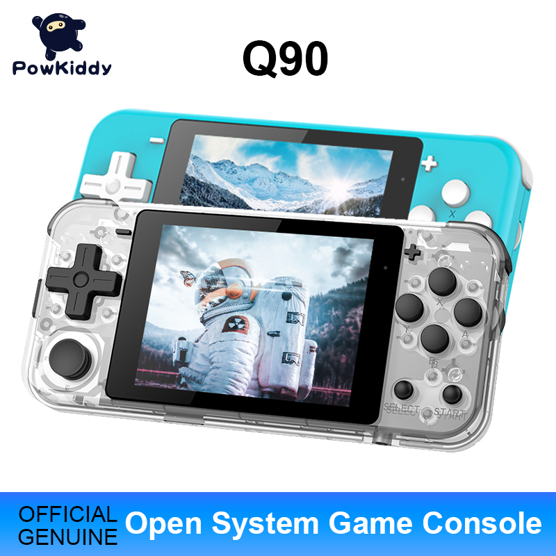 POWKIDDY Q90 Open Dual System Handheld Retro Game Console 3 inchHD IPS Screen Kids Gift 16 Simulator Support PS1 New Game 3D Games