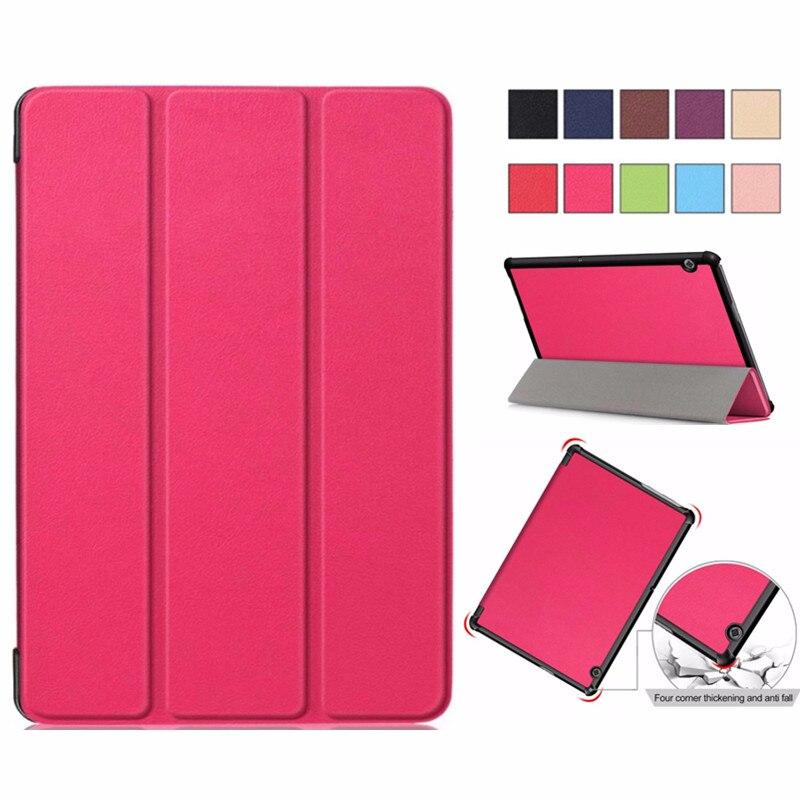 PU Deri Fundas Kılıf Huawei MediaPad T5 AGS2-W09/L09/L03/W19 10.1 Tablet Standı huawei T5 10 Çapa Ultra Ince Durumda