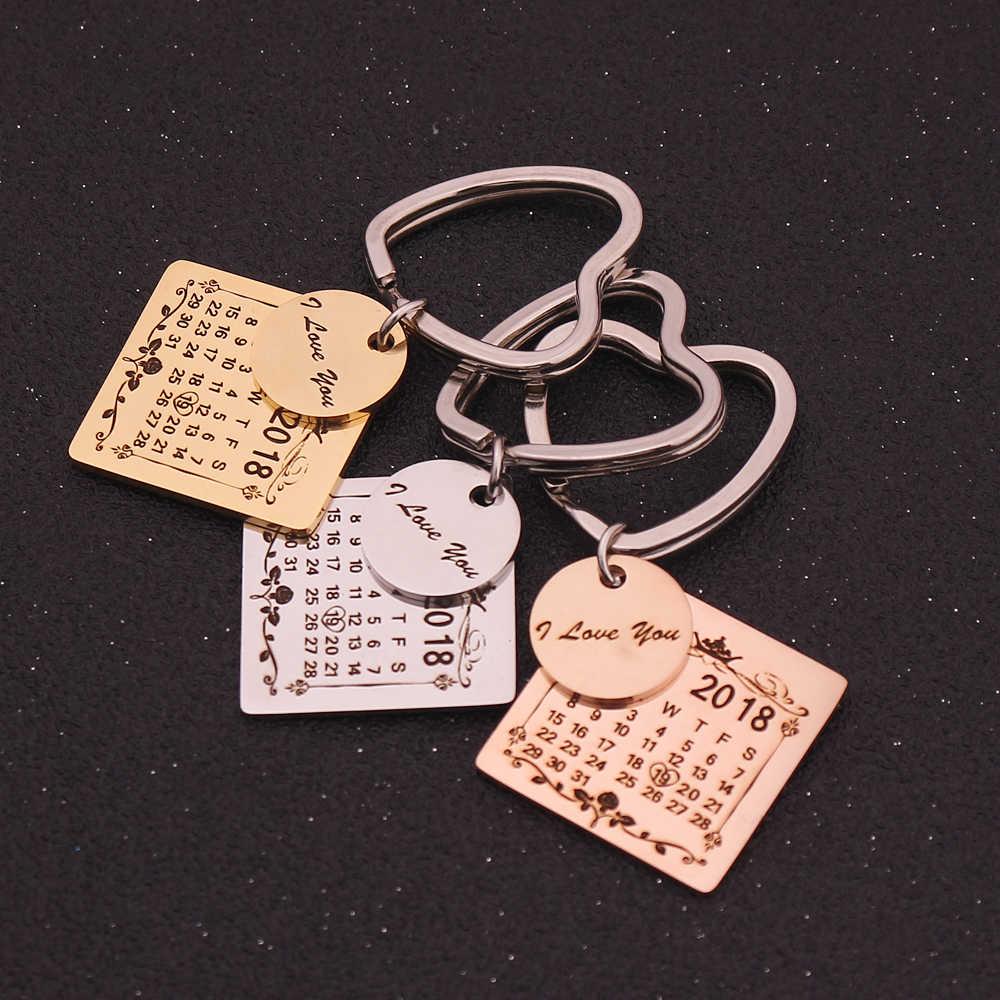 3 цвета личный календарь брелок резной из нержавеющей стали индивидуальное заказное кольцо для ключей календарь гравировка специальная Дата имя подарки