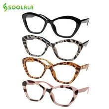 Soolala 4 Stuks Cat Eye Vrouwen Leesbril Okulary Ajurwedyjskie Lenzenvloeistof Verziend Leesbril 1.0 1.5 1.75 2.0 2.5 4.0