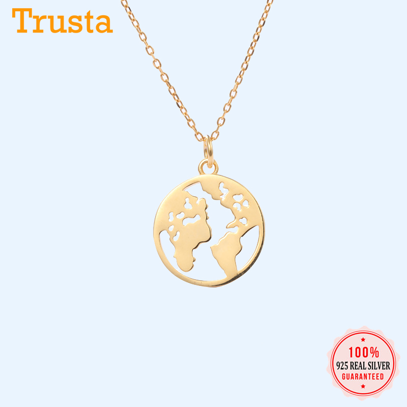 Trusta Solid 925 Sterling Silver Necklace My World Map GP 925 Pendant Necklace Special Birthday Gift for For Teen Girls DS1407 image