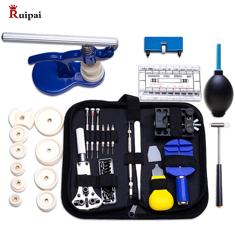 RUIPAI 406pc Professional Watch Repair Tool Kit Watch Tools Including Watch Press Spring Bars Battery Replacement