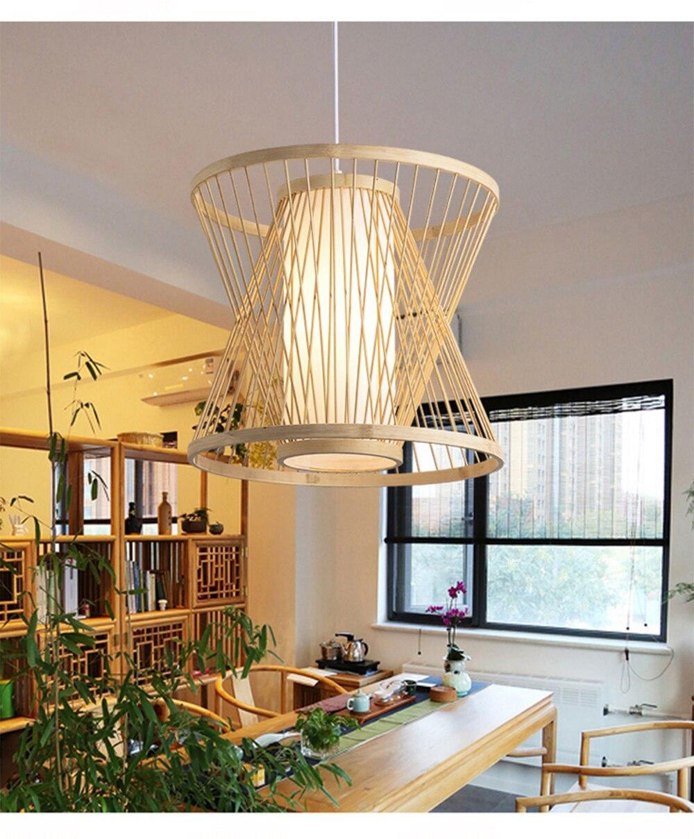 wooden hanging lamp pendant lights suspension light fixture creative handmade simple art home decoration lamps Triangle
