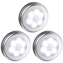 6 светодиодный датчик движения под шкаф светильник на батарейках умный настенный светильник шкаф для ванной Светодиодная лампа для лестничной клетки 1 шт