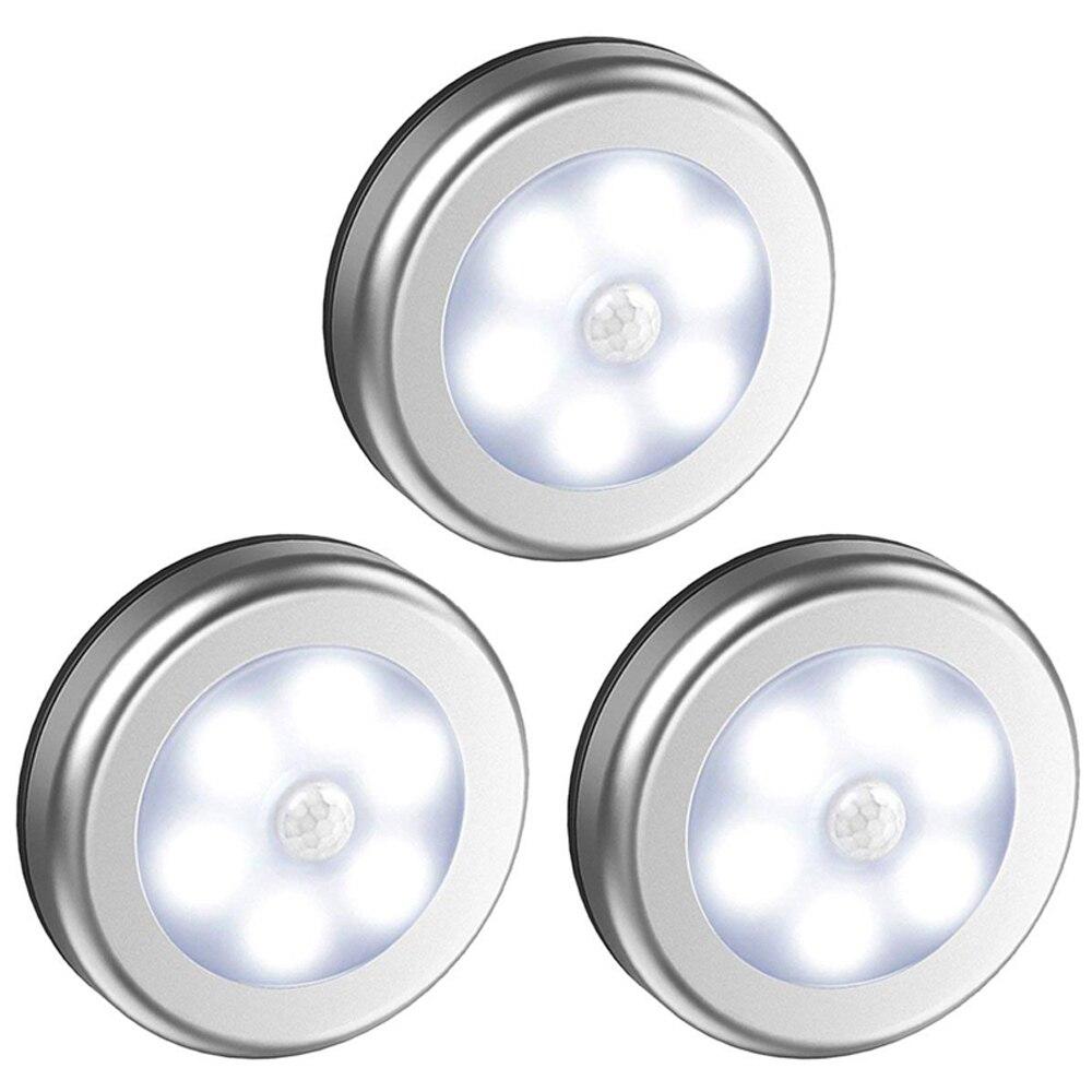 6Led Motion Sensor Under Cabinet Light Battery Operate Smart Wall Lamp Closet Wardrobe Cupboard Bathroom Stair LED Light 1pc
