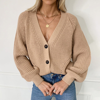 Женский вязаный  свободный свитер с длинным рукавом с V-образным вырезом 1