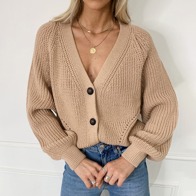 Zoki Women Knitted Cardigans Sweater Fashion Autumn Long Sleeve Loose Coat Casual Button Thick V Neck Solid Female Tops 2021