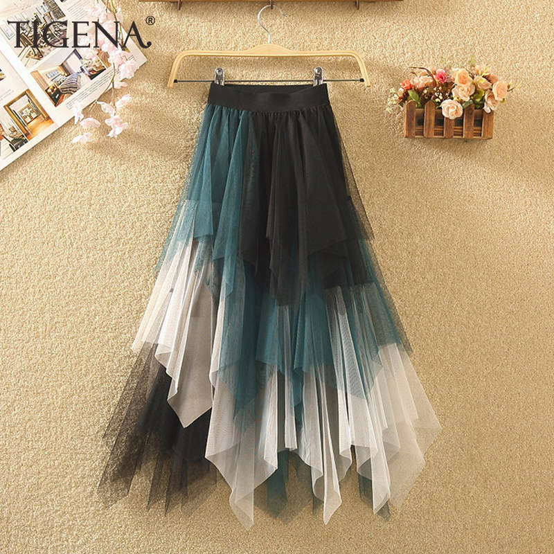 TIGENA Long Tutu Tulle Skirt Women Fashion 2020 Summer Korean Irregular Contrast Color High Waist Pleated Maxi Skirt Female