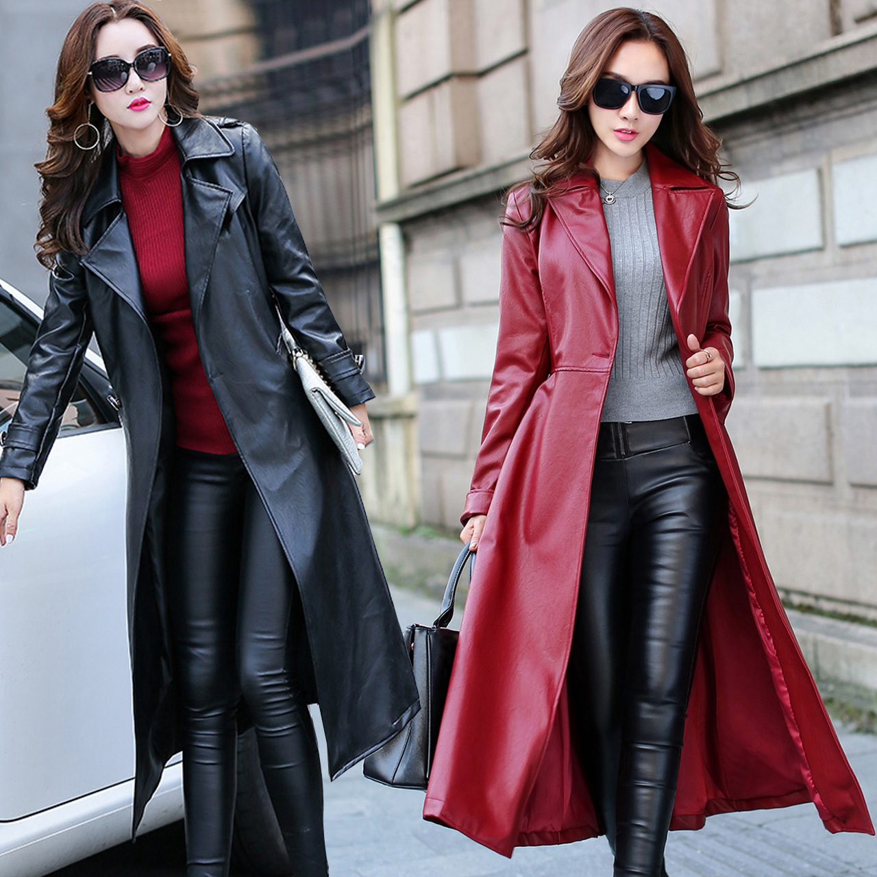 Leather Long Jacket Women New Spring Autumn Faux Pu  Full Sleeve Coat  Empire Waist Outwear Burgundy Black