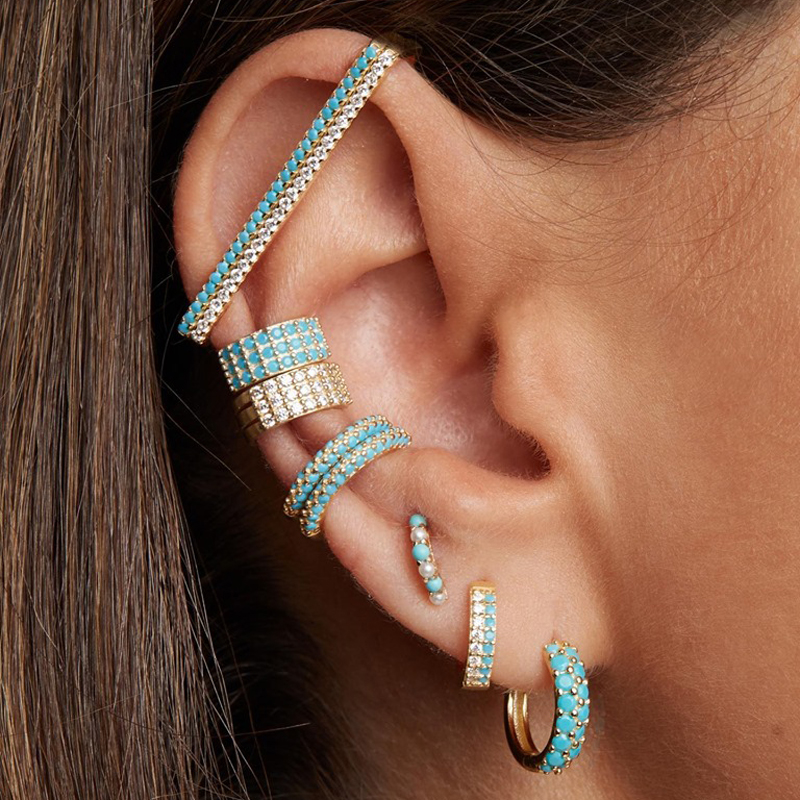 Cuff-Earring Jewelry Ear-Clip Rainbow No-Piercing Rectangle Fashion Women 1piece White