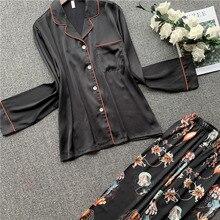 QWEEK Satin Sleepwear Pajamas for Women 2 Piece Sailk Pijamas Women Nightwear Long Sleeve Pyjamas 20