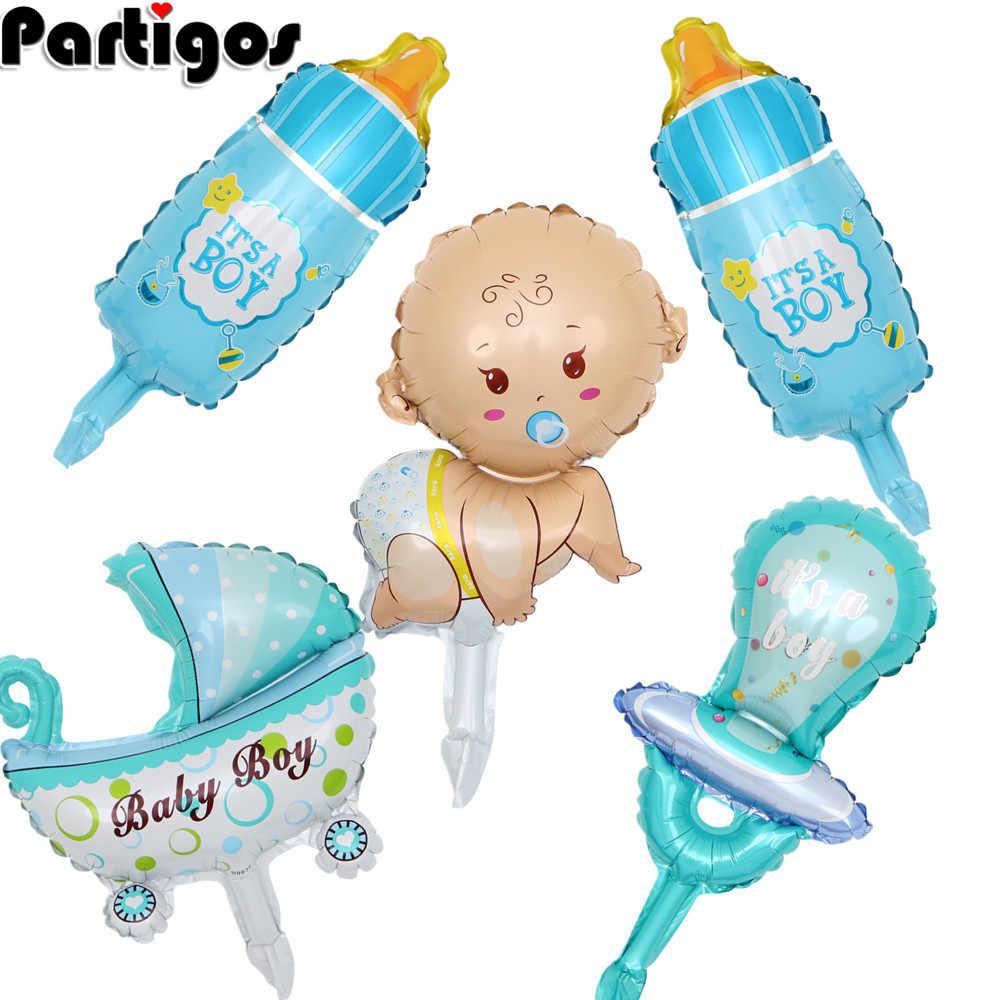 5 unids/lote mini Baby Shower niños niñas vacaciones globos decorativos de aluminio cochecito helio bolas suministros de fiesta de cumpleaños globos