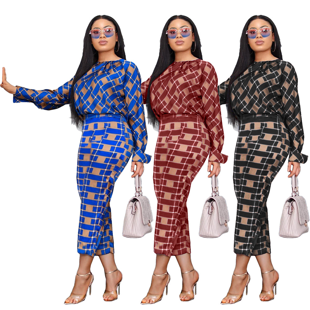 2019 European And American Women's Autumn New Fashion Temperament Long-sleeved Loose Blouse + Plaid Pants Two-piece