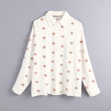 Polka Dot Embroidery Women Long Sleeve Shirt 2019 Autumn Leisure Lady Turn down Collar Blouse Loose Tops S6360Blouses & Shirts