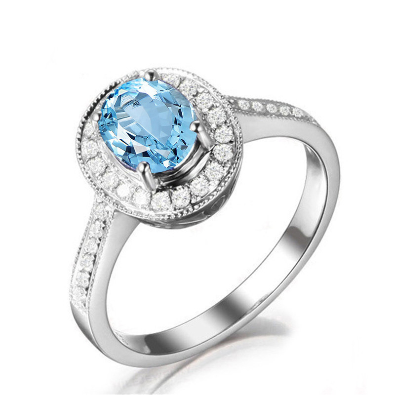 Sky Blue Topaz Halo Engagement Ring 1 Ct Oval Cut Gemstone Fine Jewelry Solid 925 Sterling Silver Rings for Women