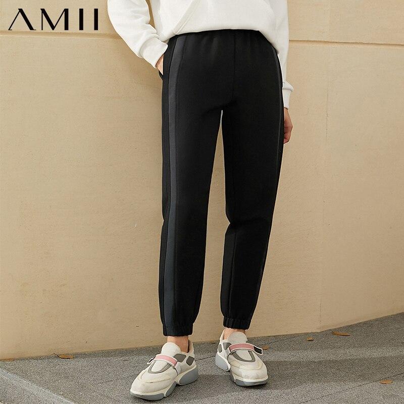 Amii Minimalismus Winter Mode Dicke frauen Hosen Kausalen Elastische Taille Patchwork Fleece Lose Weibliche Hose 12070442