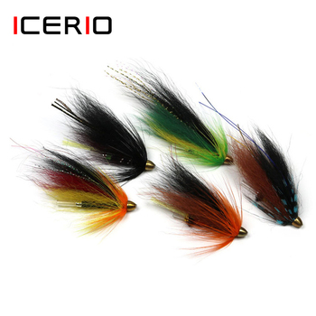 ICERIO 4PCS Conehead Tube Fly Streamer Wet Flies Trout Salmon Fishing Fly Lure Bait image