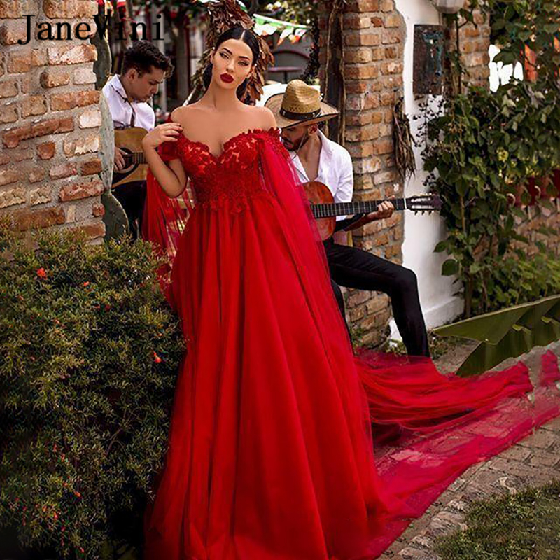 JaneVini Sexy Arabic Red Long Evening Dresses with Cape 2020 Off Shouler Lace Appliques Tulle Plus Size Dubai Formal Party Gowns