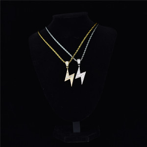 Image 4 - Gold Silver Color Iced Bolt Necklaces Fashion  AAA Zircon Pendant Lightning Pendants Jewelry Mens Hiphop Chains Drop Shipping