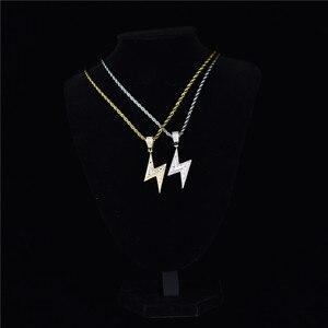 Image 4 - ゴールドシルバー色アイスボルトネックレスファッションaaaジルコンペンダント雷ペンダントジュエリーメンズヒップホップチェーンドロップ無料